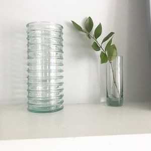 Other - Tall Cylindrical Blue Green Glass Vase Ribbed